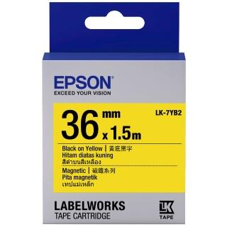 【EPSON】標籤機色帶磁鐵系列黃底黑字/36mm(LK-7YB2)