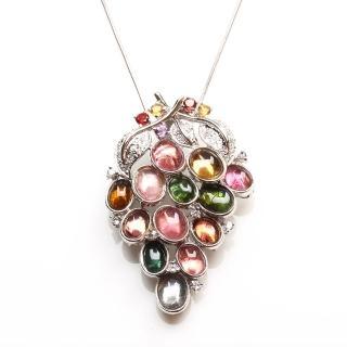 【寶石方塊】瓜瓞綿綿天然碧璽項鍊-925純銀飾