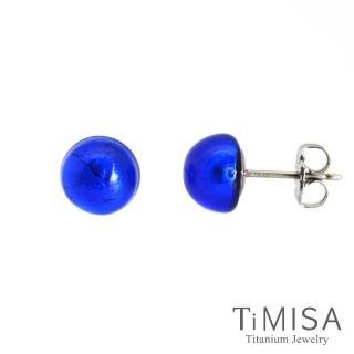 【TiMISA】點點繽紛 琉璃純鈦耳環一對(藍-網路限定)