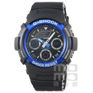 【CASIO】卡西歐G-SHOCK 雙顯鬧鈴電子錶-黑藍(AW-591-2A)