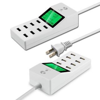 極速10A智慧液晶顯示8孔USB充電器