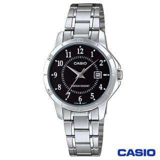 【CASIO卡西歐】女仕休閒時尚鋼帶腕錶-黑(LTP-V004D-1B)