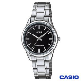 ~CASIO卡西歐~簡潔風格鋼帶女錶~黑 LTP~V005D~1A