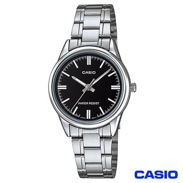 【CASIO卡西歐】簡潔風格鋼帶女錶-黑(LTP-V005D-1A)