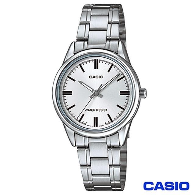 【CASIO卡西歐】簡潔風格鋼帶女錶-白(LTP-V005D-7A)