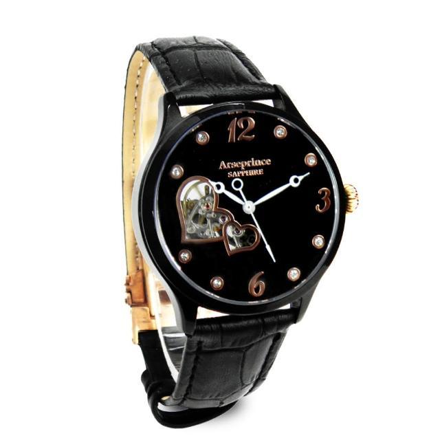 【Arseprince】心心相印鏤空時尚機械腕錶(黑色)