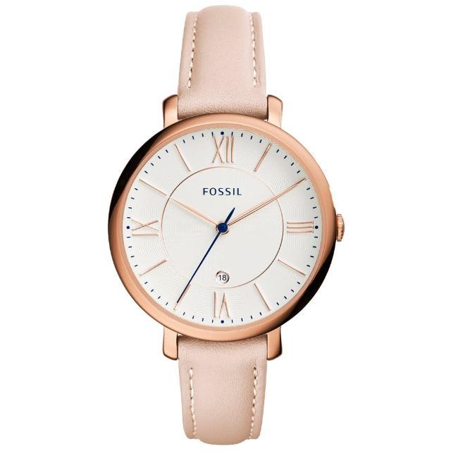 【FOSSIL】網羅質感日期時尚腕錶-玫瑰金框膚色皮帶(ES3988)