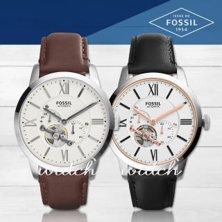【FOSSIL】簡約時尚 三眼計時低調 皮革機械男錶(ME3064)