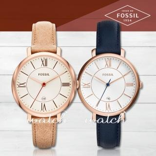 【FOSSIL】甜美氣質錶款 玫瑰金 皮革女錶(ES3487)