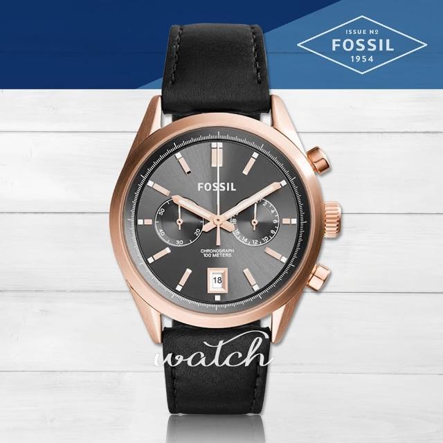 【FOSSIL】雜誌推薦款 簡約時尚 黑色雙眼計時男錶(CH2991)