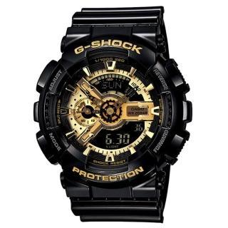 【CASIO】G-SHOCK 立體耀眼重機造型雙顯錶(GA-110GB-1A)