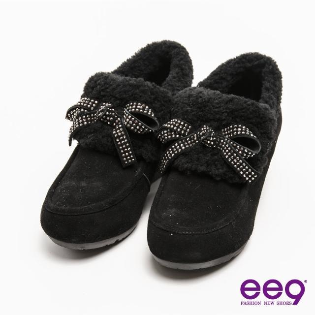 【ee9】迷人丰采-閃耀水鑽蝴蝶結素面柔軟兔毛平底踝靴*黑色(踝靴)