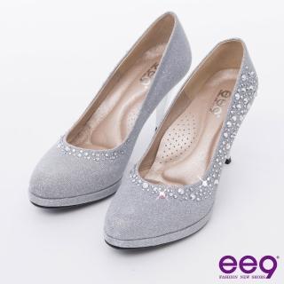 【ee9】心滿益足-驚豔美人進口閃亮斜紋布夢幻亮鑽高跟鞋*銀色(跟鞋)