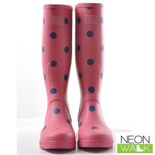 【Neon Walk】俏皮甜心點點長筒雨靴 桃紅色(Neonwalk 長筒雨靴)