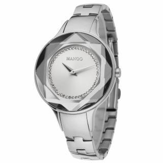 【MANGO】獨特魅力晶鑽多切割仕女腕錶(銀/36mm)