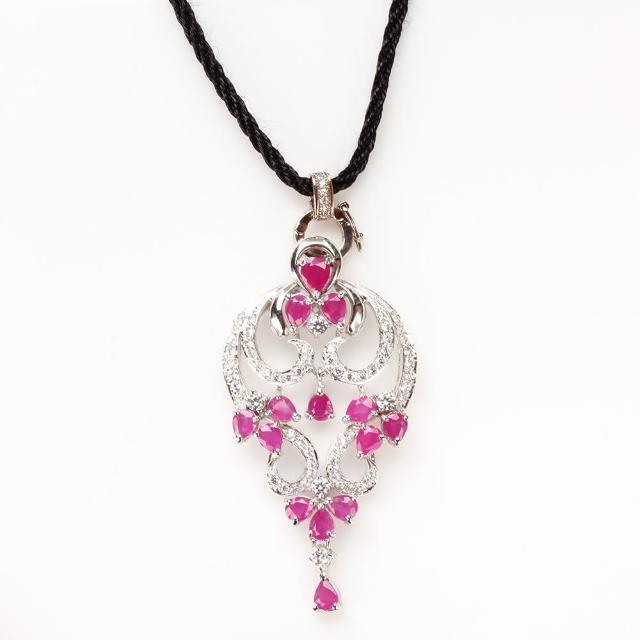 【寶石方塊】水月觀音天然紅寶石項鍊-925純銀飾