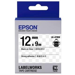 【EPSON】標籤帶 透明底黑字/12mm(LK-4TBW)