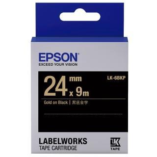 【EPSON】標籤機色帶黑底金字/24mm(LK-6BKP)