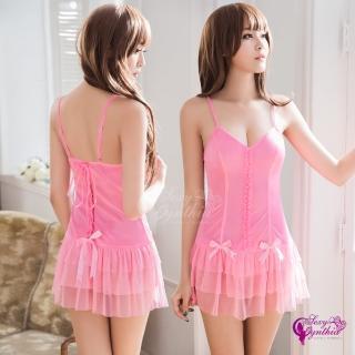【Sexy Cynthia】性感睡衣 層疊裙襬柔緞美背二件式睡衣
