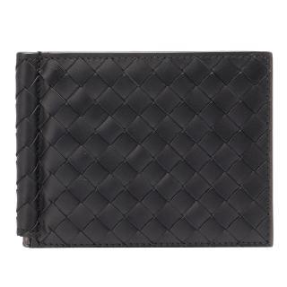 【BOTTEGA VENETA】經典編織小羊皮軸釦萬用卡夾/短夾(黑色123180-1000)