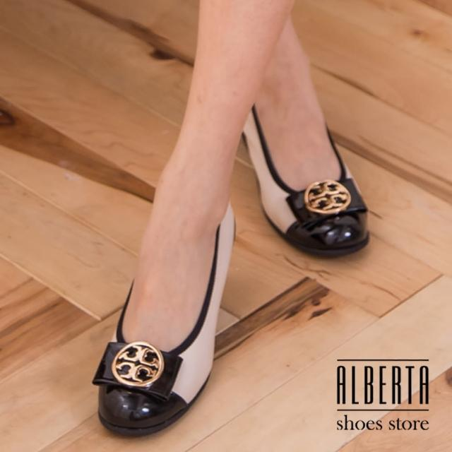 【Alberta】素雅中國風圖騰金屬蝴蝶結楔型中跟 坡跟娃娃鞋 乳膠底舒適好穿(黑色)