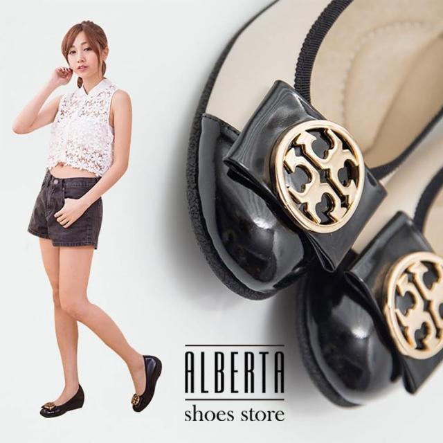 【Alberta】素雅中國風圖騰金屬蝴蝶結楔型中跟 坡跟娃娃鞋 乳膠底舒適好穿(米色)