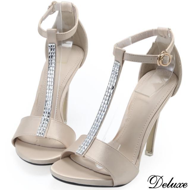【Deluxe】真皮絲緞T字綁帶水鑽高跟鞋(米☆黑)