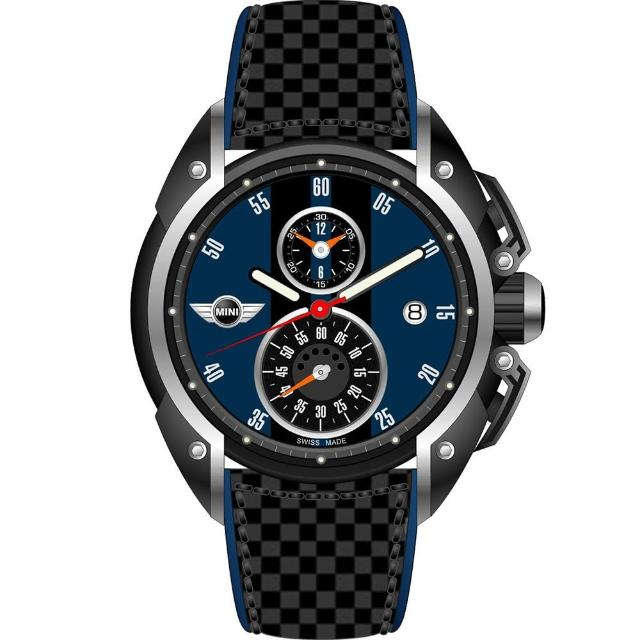 【MINI Swiss Watches】英倫風範運動計時腕錶-藍x黑(MINI-13)