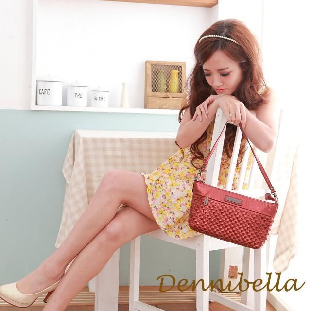 【Dennibella 丹妮貝拉】牛皮斜背編織包-紅(4D170581695)