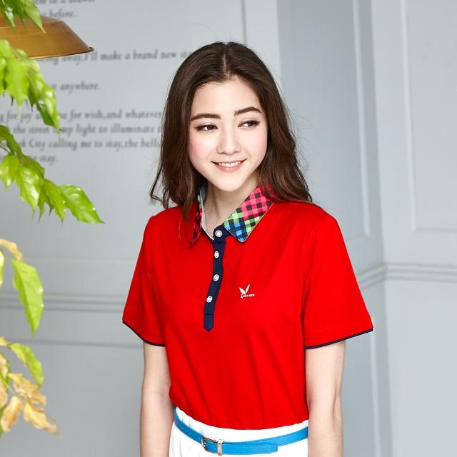 【LEIDOOE】立領格紋拼接女版短袖POLO衫(紅色16663)