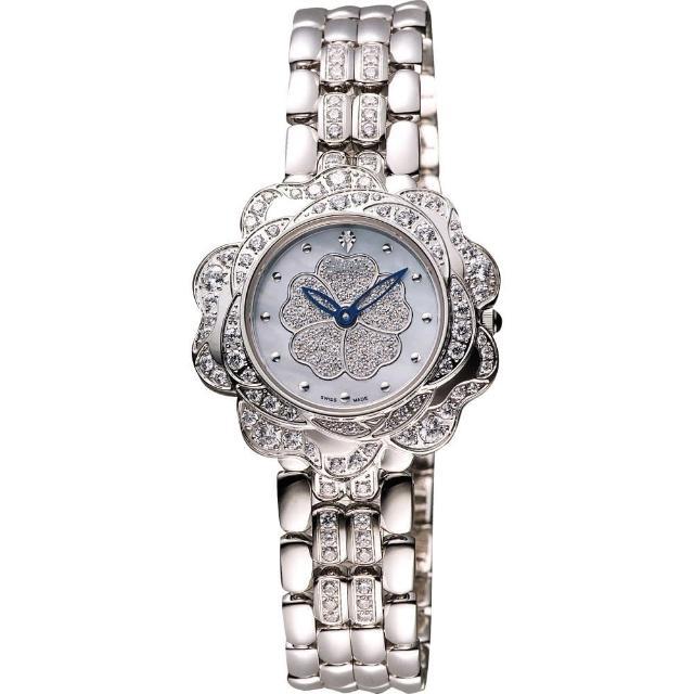 【Ogival】愛其華 山茶花 花漾展放真鑽腕錶-藍彩貝x銀/32.5mm(305-14DLW)