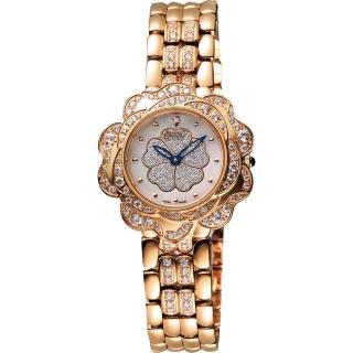 【Ogival】愛其華 山茶花 花漾展放真鑽腕錶-白彩貝x玫塊金/32.5mm(305-14DLR)