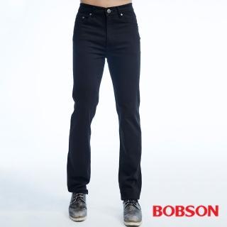 【BOBSON】男款保暖高腰膠原蛋白直筒褲(黑1815-87)