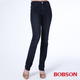 【BOBSON】女款保暖高腰膠原蛋白小直筒褲(8096-52)