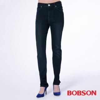 【BOBSON】女款保暖膠原蛋白小直筒褲(藍8095-52)