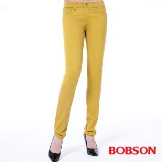 【BOBSON】女款低腰膠原蛋白拉毛小直筒褲(黃8139-31)