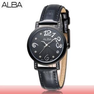 【SEIKO 精工 ALBA 系列】簡約優雅指針型錶款 黑色皮革數字 女錶(AG8443X1)