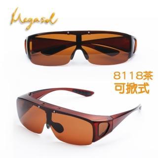 【MEGASOL】UV400偏光側開窗外挂太陽眼鏡護目鏡(可掀式加大通用款-MS8118-三色任選)
