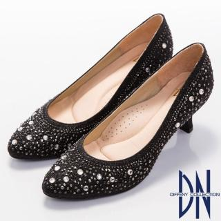 【DN】典雅迷人 MIT閃耀滿鑽小圓尖頭跟鞋(黑)