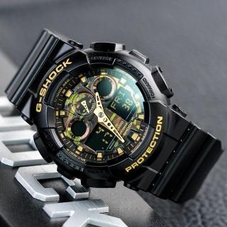 【CASIO 卡西歐】G-SHOCK 潮流迷彩指針數位雙顯錶款(GA-100CF-1A9DR)
