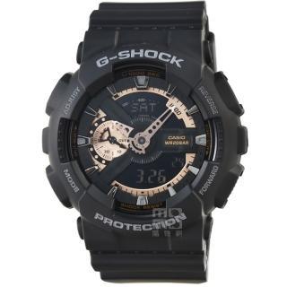 【CASIO】卡西歐G-SHOCK 抗磁雙顯重機鬧鈴電子錶-黑(GA-110RG-1A)