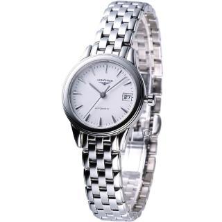 【LONGINES】旗艦系列 女用自動機械腕錶(L42744126 白面)