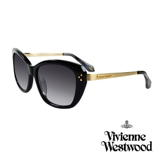【Vivienne Westwood 英國 太陽眼鏡】經典LOGO金邊太陽眼鏡(VW88301_黑)