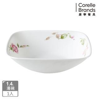 【美國康寧 CORELLE】田園玫瑰方形1.4L湯碗(2348)