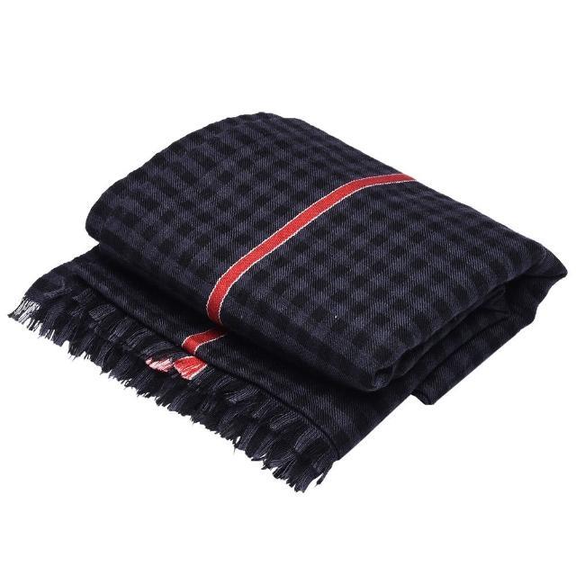 【GUCCI】經典細格紋紅色飾邊羊毛混絲流蘇圍巾(黑灰/200X72cm-351788-4G747-1061)