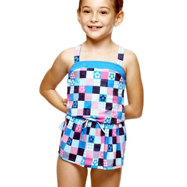 【聖手牌】方格紋圍兜造型兩件式女童泳裝(A82427)