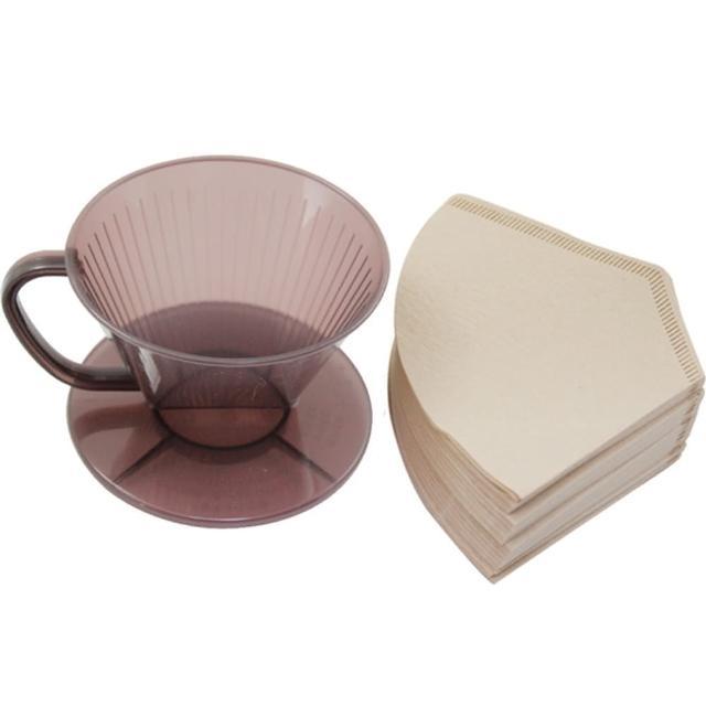【omax】日製耐熱咖啡濾杯1入+無漂白咖啡濾紙160入(2包裝)