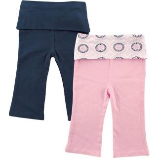 【美國 Luvable Friends】腰反摺棉質休閒長褲2件組 - 深藍粉紅(90462)