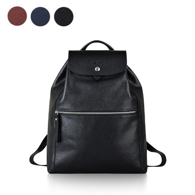 【LONGCHAMP】LE FOULONNE系列皮革束口後背包(共2色)