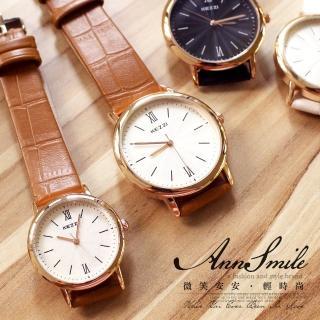 【微笑安安】香港品牌KEZZI*波紋面簡約數字玫瑰金框情侶款皮帶腕錶(2款各3色)